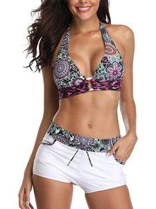 Sexydance Frauen Zweiteilige Strandkleidung Bikini Set Badeanzug Push Up Gepolsterte BH,Farbe:Weiß,Größe:L
