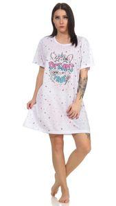 Damen Nachthemd Sleepshirt Nachtwäsche, Weiß M
