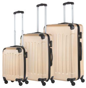 3 teiliges Hartschalen - Kofferset 76cm, 66cm und 55cm Handgepäckkoffer in beige