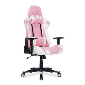 Gaming-Stuhl, Gaming Stuhl, Racing Gamer Stuhl, Bürostuhl, Ergonomischer höhenverstellbar Schreibtischstuhl, Rosa