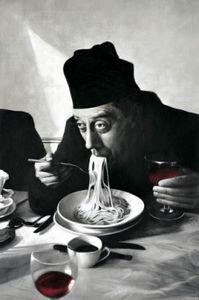 Kochkunst Poster - Spaghetti, Rotwein, Don Camillo (91 x 61 cm)