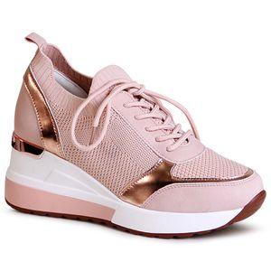 topschuhe24 2004 Damen Keilabsatz Sneaker Halbschuhe, Farbe:Rosa, Größe:37 EU