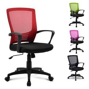 Merax Bürostuhl Cheffseseel Schreibtischstuhl drehstuhl Ergonomisch sitzkomfort Bürodrehstuhl Computertischstuhl mit Rückenlehne, belastbar bis 100kg (Rot)