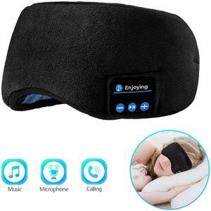 Schlafkopfhörer Bluetooth Augenmaske, kabellose Bluetooth 5.0 Kopfhörer Musik Reise Schlafkopfhörer Freisprechfunktion Schlafmaske mit integrierten Lautsprechern Mikrofon waschbar (schwarz)