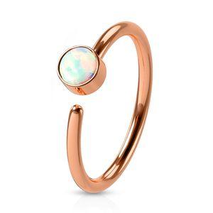 viva-adorno 0,8mm Nasenring Nasenpiercing Piercing Hoop Ring Opal Tragus Helix Cartilage Rook Ohrpiercing Z520,rosegold / weiß