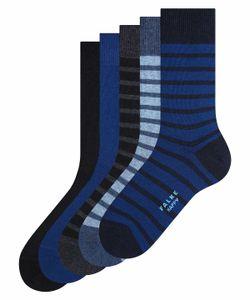 FALKE Herren Socken 5er Pack - Kurzsocken, Geschenkbox, uni Blau/Schwarz 39-42