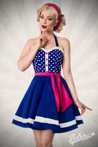 Neckholder Kleid mit herzförmigem Ausschnitt im Vintage-Look in blau/weiß Größe L = 40