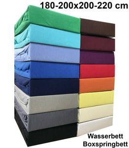 Jersey Spannbettlaken 180x200 - 200x220 cm Wasserbett Boxspringbett Spannbettuch 100% Baumwolle, Schwarz