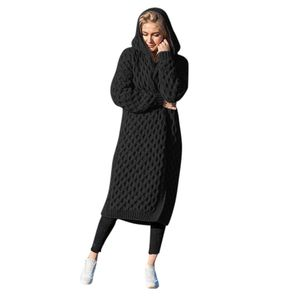 Winter warme neue Mode Frauen lange gestrickte Pullover Kapuze Strickjacke Mantel Größe:XXL,Farbe:Schwarz