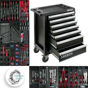 AREBOS 7 Fächer Werkstattwagen 5 komplett gefüllt mit Werkzeug Werkzeugschrank - direkt vom Hersteller
