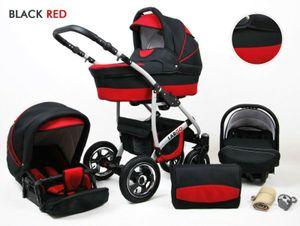 Kinderwagen Largo Alu ,3 in 1 -Set Wanne Buggy Babyschale Autositz mit Zubehör Black Red