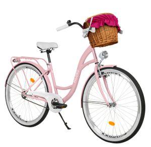 Milord Komfort Fahrrad Mit Weidenkorb Damenfahrrad, 26 Zoll, Rosa, 1 Gang