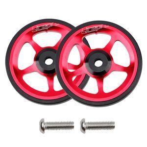 Leichte CNC-Leichtmetallräder Aus Aluminiumlegierung Für Brompton-Falträder Rot 6cm Einfache Räder