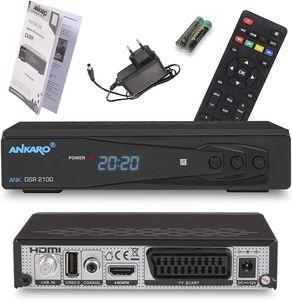 CYE DSR 2100 digitaler Full HD 1080p Satelliten Receiver schwarz mit USB Mediaplayer, Aufnahmefunktion und Timeshift/HDMI/Scart/LED Display / 12V Netzteil ideal für Camping