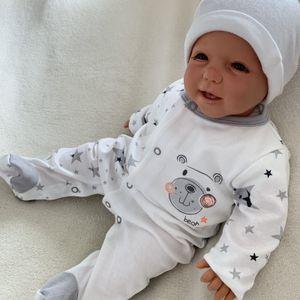 Baby Jungen Mädchen Strampler Schlafanzug Einteiler Gr. 62 Bärchen