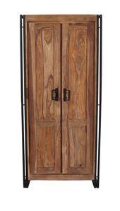 Sit Möbel PANAMA Dielenschrank Akazie |L 80 x B 45 x H 180 cm | natur / antikschwarz | 09264-01 | Serie PANAMA