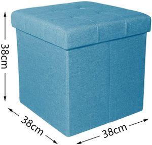 Theo&Cleo 38cm Sitzbank Sitzhocker mit Stauraum faltbar Sitzwürfel Fußablage leinen  (Blau)