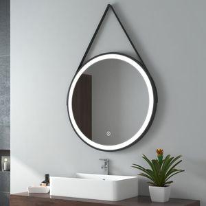 EMKE LED Badspiegel Rund 70 cm Durchmesser LED Spiegel Badezimmerspiegel mit Beleuchtung 3 Lichtfarbe 3000-6500K Kaltweiß Neutral Warmweiß Dimmbar Lichtspiegel mit Touchschalter IP44 Energiesparend (Schwarz Design)