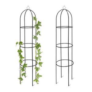 relaxdays 2x Rankturm Rankobelisk aus Metall freistehend Rosen Rankhilfe für Garten Deko