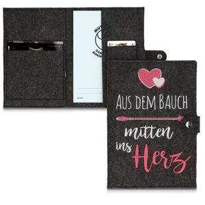 kwmobile Mutterpasshülle aus Filz - Hülle für deutschen Mutterpass mit extra Fächern - Cover Mitten ins Herz