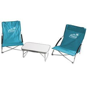 3tlg. Campingmöbel-Set Tisch 56x34cm + 2x Strandstuhl mit Transporttasche Blau