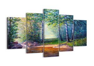 """Leinwandbild - 150x100 cm - """"Idyllische Landschaft""""- Wandbilder - Landschaft Fluss Wald - Arttor - EA150x100-4063"""