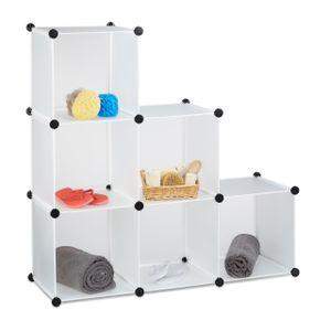 relaxdays 1 x Stufenregal weiß, Steckregal 6 Fächer, Regalsystem Treppenregal Raumteiler