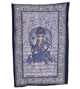 Wandbehang Ganesha Tischdecke Goa Tuch Indien ca.130 x 200 cm, Farbe:Blau