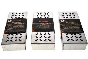 3x Räucherbox Edelstahl Smokerbox für Gasgrill, Holzkohle Grill, BBQ Box Grillzubehör