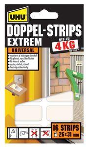 UHU Montage Klebepads EXTREM doppelseitig hält bis 4 kg 26 x 31 mm 16 Klebepads