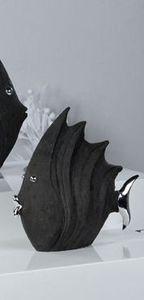 """Casablanca Figur""""Fisch""""schwarz,H26L29cm,Poly Steinoptik m.silbernen Augen,Mund & Flosse 49593"""