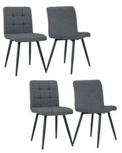Duhome 4er Set Esszimmerstuhl Polsterstuhl aus Stoff Leinen Grau Metallbeine