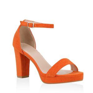 Mytrendshoe Damen Riemchensandaletten Plateau Sandaletten Party Schuhe Elegant 824638, Farbe: Orange, Größe: 38