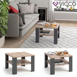 VICCO Couchtisch HOMER Anthrazit Sand 60x60 cm - Wohnzimmer Sofatisch Kaffeetisch