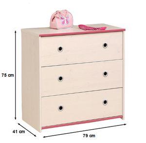 Kommode Smoozy B 79 cm weiß pink oder blau Kinder- und Jugendzimmer Jugendzimmer Anrichte Schrank Aufbewahrung Schubladen Mehrzweckschrank