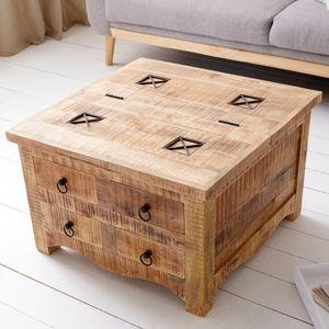 Massiver Couchtisch IRON CRAFT 70cm Mangoholz Truhe mit Schubladen Sofatisch Wohnzimmertisch Industrial Design