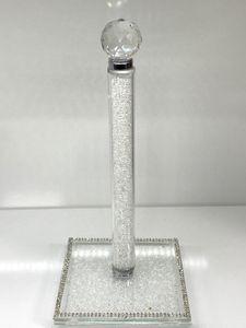 Zellerfeld Küchenrollenhalter mit schönen Diamanten, Silberkristall, Deko Dekoration 30 cm Weiß (TM221-W)