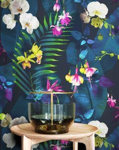 Tapete Blumentapete Blau Papier  Floral Modern Natur Blumen Blätter  Griffin