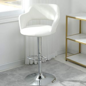 Barhocker weiß Barstuhl mit Rückenlehne 1er  360° drehbar Tresenhocker Küchenstühle Hocker Bistrohocker Bar Hocker