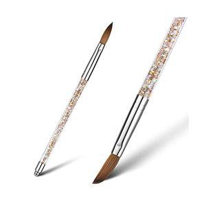 Nagelbürste für Acrylpulver, 100% Kolinsky Zobel-Nagelkunst, professionelle Zeichnung Anwendung mit flüssigem Glitzer-Griff (Größe 6)