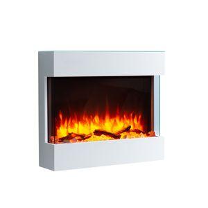 RICHEN Elektrokamin Alva mit Glasplatte - Elektrischer Wandkamin (2000W, LED-Beleuchtung, 3-D Flammeneffekt, Fernbedienung) Weiß