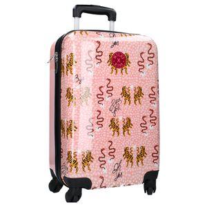 Milky Kiss Trolley Koffer Milky Kiss - Koffer mit Rädern für Mädchen - Tiger und Schlangen Tanzen - Rosa und Gelb - 55 cm