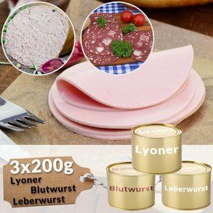 Dosenwurst Mischkarton Leberwurst Blutwurst Lyoner Probierpaket Wurstkonserven Fleischwurst Dosen, Menge:600g