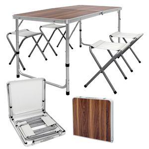 ECD Germany Campingtisch Set mit 4 Hocker - 120 x 60 x 55/63/70 cm h?henverstellbar - klappbar - Holzdekor - aus Aluminium und MDF - Campingm?bel Set Klappm?bel Klapptisch Falttisch