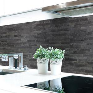 Küchenrückwand Steinwand Dunkel Premium Hart-PVC 0,4 mm selbstklebend - Direkt auf die Fliesen, Größe:60 x 51 cm