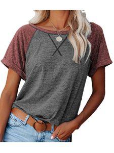 Einfarbiges Oberteil für Frauen Kurzarm Lässiges T-Shirt Loses Oberteil,Farbe: Graurot,Größe:M