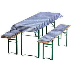 Auflagen-Set für Mini Bierzeltgarnitur Blau-Kariert 3-teilig Tischdecke 130 x 70 cm für 110 x 50 cm Biertische und 2 gepolsterte Bankauflagen 110 x 25 cm