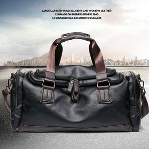 Herren Reisetasche Leder Sporttasche Schulter Handtasche Gepäck  Tasche Umhängetasche