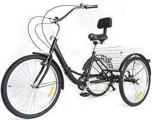 Dreirad für Erwachsene Erwachsenedreirad Senioren 24'' 7-Gang 3-Rad Faltbar   Fahrrad  mit Korb und Rückenlehne Geschenke für Eltern und ältere Menschen (Schwarz)