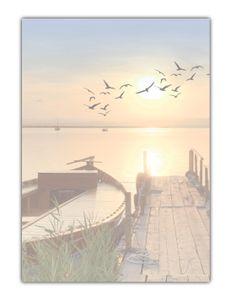 Motiv Briefpapier (MPA-5198, DIN A4, 100 Blatt) Steg am Meer mit Boot und Vögeln bei Sonnenschein